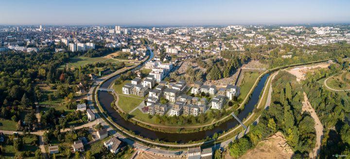 le canal saint martin - photo aerienne drone de Rennes, le canal saint-Martin. - Valery Joncheray